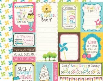 1 Sheet of Carta Bella Paper COOL SUMMER 12x12 Textured Scrapbook Cardstock - Summer Season Journal Cards