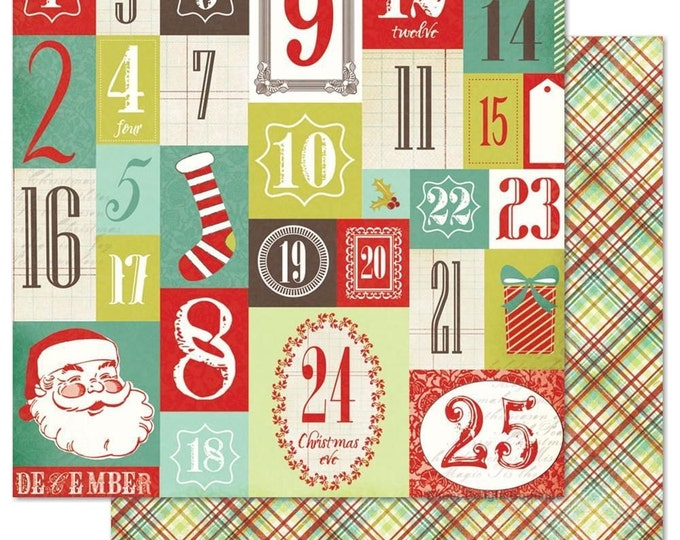 2 Sheets of My Mind's Eye MISTLETOE MAGIC 12x12 Christmas Scrapbook Paper - Countdown