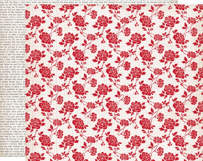 2 Sheets of Echo Park Paper YOURS TRULY 12x12 Valentine's Day Scrapbook Paper - Rose Blossom