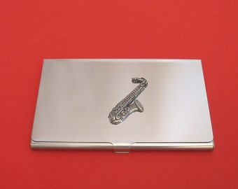Saxophone Chromed Card Holder With Hand Cast Pewter Motif Orcestra Brass Band Music Gift