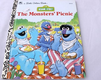 A Little Golden Book, Sesame Street, The Monsters' Picnic by Liz Alexander, Joe Ewers, 1991, Vintage Picture Book