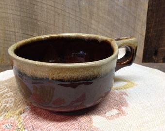 Vintage Brown Drip Glaze Bowl, Soup Bowl, Western Stoneware, Maple leaf.
