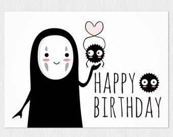 Happy birthday's card Spirited Away No-Face - PDF DIY Printable 6x4 inch - Printable greeting card instant download Miyazaki