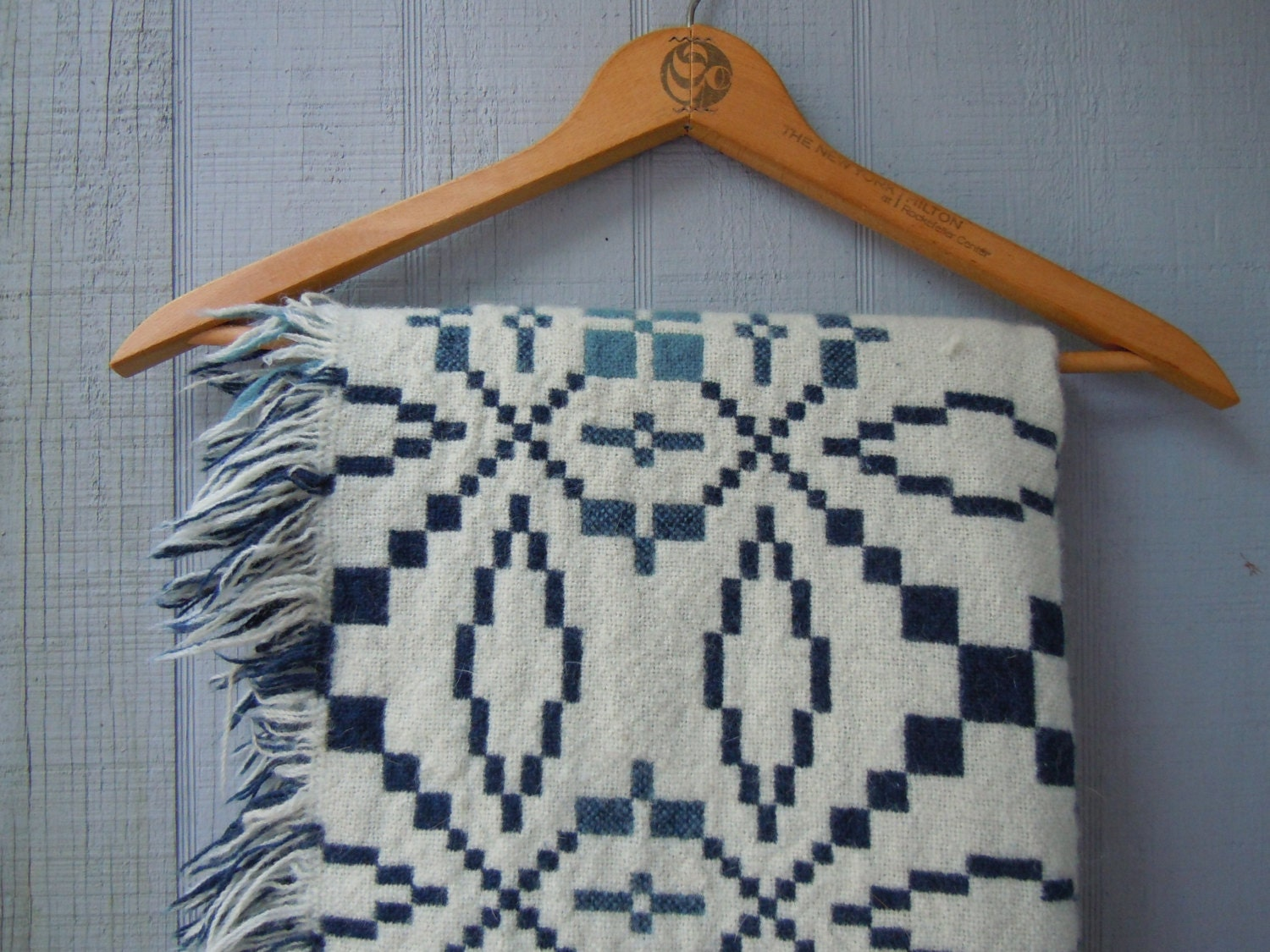 Vintage 100 Wool Ivory And Blue Fringed Throw By