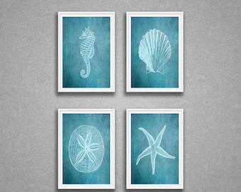 Sea Life Print Set Of 4 Seahorse Shell Sandollar Starfish Art