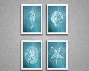 Sea Life Print Set Of 4, Seahorse, Shell, Sandollar, Starfish, Art
