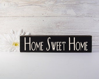 Home Sweet Home Block- Hand Painted Wooden Shelf Sitter- Country Decor-Wooden Block-Quotes- Vintage Style- Distressed- Home Decor