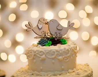 I Do MeToo - Bird Cake Topper - Rustic Cake Topper -  Personalised Topper - Spring Wedding