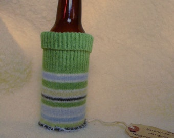Recycled Felted Wool Bottle Cozy Keeps Baby Water Soda or Beer Bottle Liquid the Perfect Temperature by FeltLikeItStudio