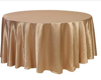 YCC Linen - 120 inch Champagne Satin Round Tablecloth | Wedding Tablecloth