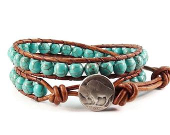 Leather Wrap Bracelet Turquoise Blue Magnesite Gemstones Buffalo Button Beaded Jewelry