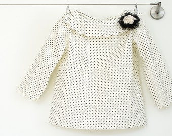 Girl Blouse,girl polka dot top,ivory girl top,winter clothing,holiday clothing,dressy shirt,toddler clothing,size 2T, 3T, 4T, 5, 6, 7, 8, 10