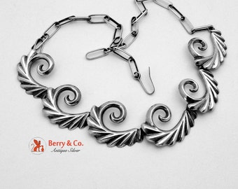 Scroll Necklace Sterling Silver Hand Made