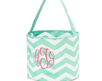 Kids Easter bucket -chevron -children-Easter egg hunt