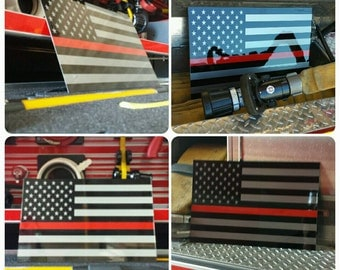 Thin Red Line American Flag Painted  Firefighter sign.