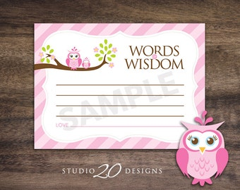Instant Download Pink Owl Advice Cards, Pink Owl Baby Shower Games, Pink Brown Lime Words of Wisdom, Printable Advice Cards #23E