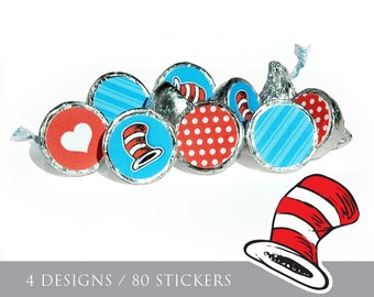 Instant Download Dr. Seuss Hershey Kiss Stickers, Dr. Seuss Baby Shower Kiss Labels, Printable Dr. Seuss Candy Sticker Sheets #40A