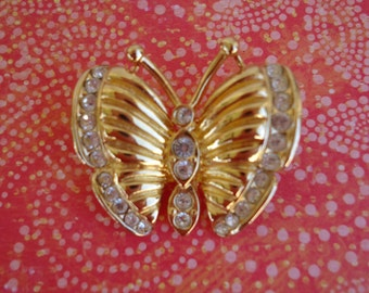 Goldtone and Rhinestone Butterfly Pin/Brooch