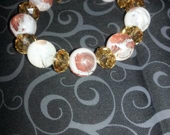 Topaz and Cream colored Stretch Bracelet