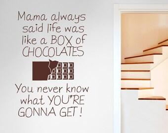 Mama Always Said Life Is Like A Box Of Chocolates Wall Sticker