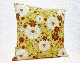 "Handmade 16""x16"" Cotton Cushion Pillow Cover in Brown/Green/Orange/Pink/Red/White Large Floral Retro Indian Summer Design Print"