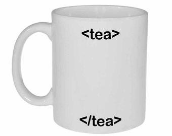 HTML Code Tea Mug - funny white ceramic coffee or tea mug