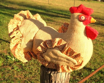 Rustic burlap chicken doll doorstop made to order - calico ruffle around quilted wings & tail, lifelike comb and wattle