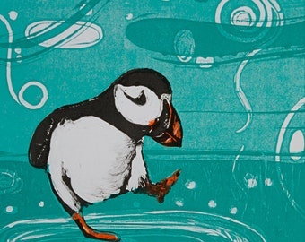 Cute Puffin 'Skippin' in the Rain' mounted digital print from an original monotype.