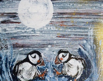 Puffins Dancing 'Moonlight Skip', mounted digital print from an original mixed media painting.