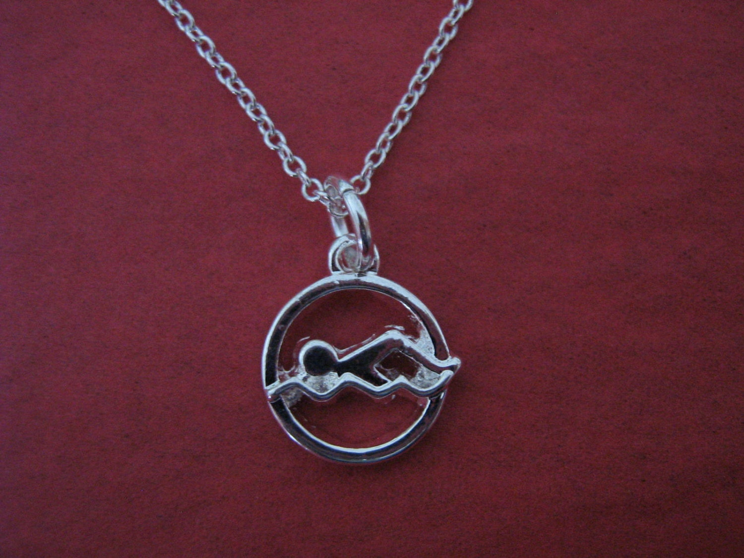 swimmer jewelry swimming necklace swimmer charm swim coach gift 2399