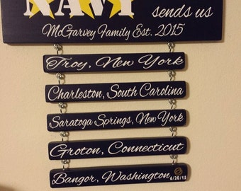 Home is Where the NAVY Sends Us - Navy Vinyl Sticker Sign on Solid Wooden Board Military Patriotic
