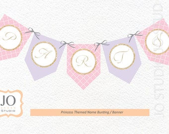 Princess Themed Banner / Bunting / Gold Glitter Banner for a Princess Party