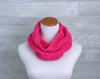 Bright Pink Cowl, Neon Neckwarmer, Crochet, Womens,  Circle scarf
