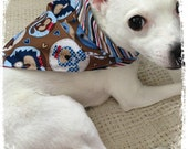 Reversible Doggie KOUTURE Kerchief Bandana--Dog Days--Striped--Doggie Faces--Ready to Ship