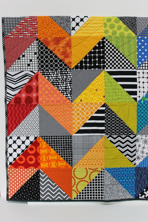 Modern Baby Quilt Olivia Contemporary Geometric