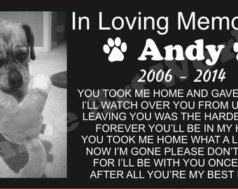 Pet Granite Memorial Grave Marker with photo engraved, Tombstone / Customized.