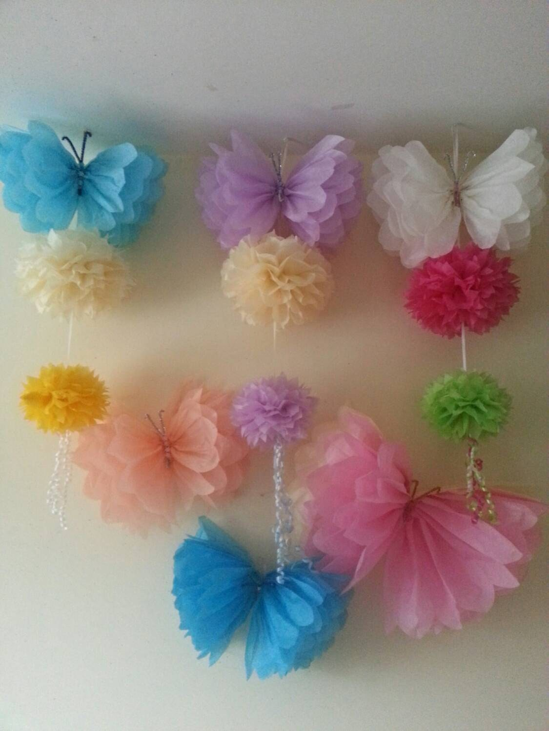 Free shipping 6 hanging ceiling wall tissue paper pom for Hanging pom poms from ceiling