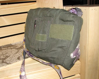 Lavender/Gray Cross body flightsuit bag REDUCED- DISCONTINUING PATTERN