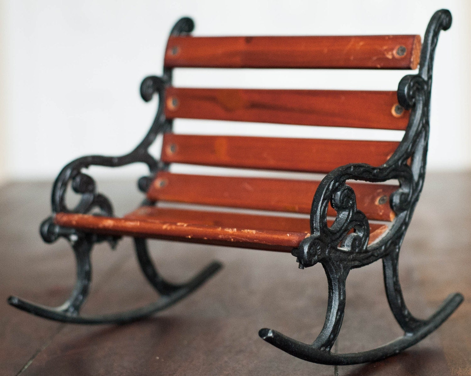 Vintage Cast Iron And Wood Rocking Park Bench By Windstonevintage