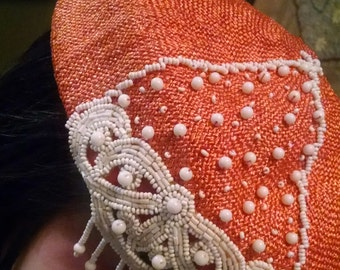 Cloche Hat, Beautiful Orange Beaded