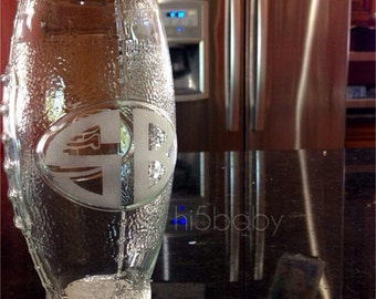 Etched football shaped beer glass with monogram,name or short saying  etched beer glass/ beer glass/ groom/ football/ wedding/ sports glass