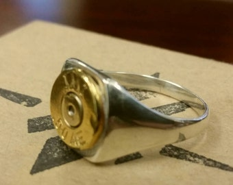 50AE Sterling Silver Band Ring /Groomsman Gifts/Fathers Day gift/Bullet Gift for Him