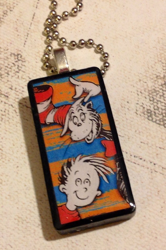 Cat in the hat domino necklace dr seuss by jensjunquedrawer for Cat in the hat jewelry