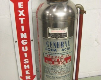 Vintage Fire Extinguisher, Stainless Fire Extinguisher, General Fire Extinguisher, Industrial Decor
