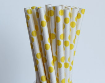 Yellow Polka Dot Paper Straws-Yellow Straws-Polka Dot Straws-Wedding Straws-Party Straws-Shower Straws-Mason Jar Straws-Cake Pop Sticks