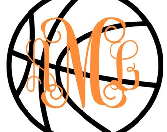 Basketball Monogram Decal