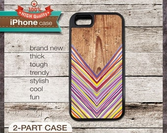 iPhone 6, 6+, 5 5s, 5c, 4 4s, Samsung Galaxy S3, S4 - Chevron on Wood Design 02