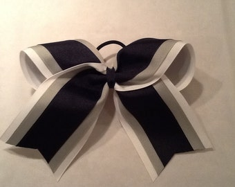White Silver Navy Blue Grosgrain Cheer Bow Softball Bows Volleyball Bows Soccer Bows