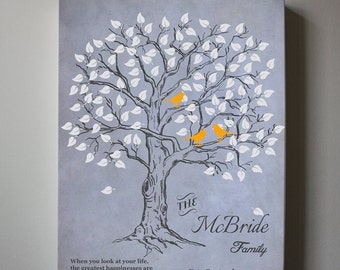 Personalized Family Name Tree Wall Art, Stretched Canvas , Family Name Sign,  Anniversary Gift, Wedding sign