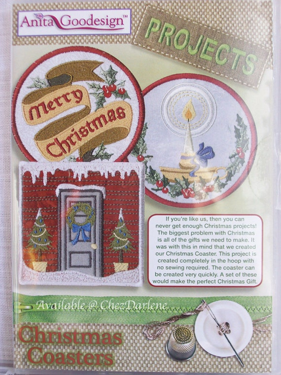 Machine embroidery christmas coaster designs holiday in the